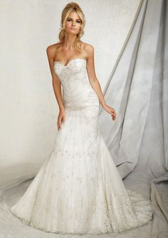 Would you say I DO in this dress?  Strapless Embroidery on Net from Angelina Faccenda by Mori Lee