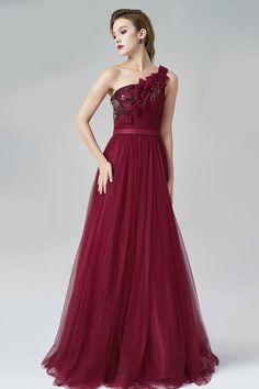 Elegant Rot Lang Ein Schulter A-Linie Tüll Abendkleider Persunshop