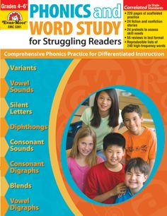 Phonics and Word Study for Struggling Readers gives the students who are below grade level the scaffolded practice in decoding and word study they need for success. Includes practice in variant vowel sounds, silent letters, consonant digraphs, blends, and more! Available in Grades 4-6+ (EMC 3361)