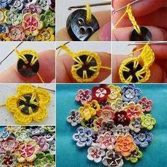 Knapper pyntet med hæklede blomster. Ideelt til pynt på tøj.
