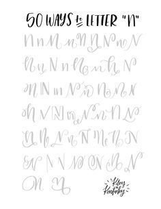 Letter n hand lettering alphabet Hand Lettering Fonts, Doodle Lettering, Creative Lettering, Lettering Styles, Lettering Tutorial, Typography Letters, Lettering Design, Chalk Typography, Lettering Ideas