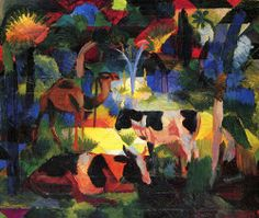 macke art | Landscape with Cows and a Camel by August Macke, art print, canvas