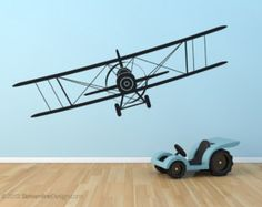 children Room Wall Painting - Airplanes Removable Vinyl Wall Decal 4 Styles To Choose From planes biplane airplane wall decals nursery wall art airplane sticker Removable Vinyl Wall Decals, Kids Wall Decals, Nursery Wall Decals, Vinyl Wall Art, Sticker Vinyl, Wall Stickers, Nursery Decor, Airplane Bedroom, Airplane Art