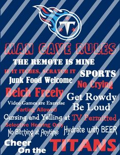 Tennessee Titans Man Cave Rules Wall Decor Sign (instant download or shipped)