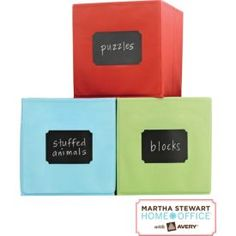 Staples Martha Stewart chalk board labels ($6). . . It's a good thing :)  Personalize your household storage containers with chalkboard labels. Just write, erase, and write again. The removable labels stick to most smooth surfaces and peel off cleanly. They're great for glass, plastic containers, metal boxes, toy bins, and mud-room storage.  Sticks to many smooth surfaces Removable adhesive leaves no residue Erasable black surface works with chalk PVC-Free