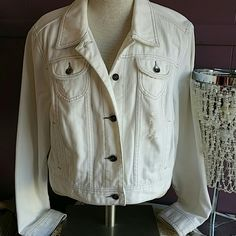 """Distressed white denim jacket. Size XL Cute, trendy. Distressed with rips, holes. Denim is soft, worn. No flaws to note. Great condition. Measures approx. 20"""" from shoulder to waist. Four front pockets. Apt. 9 Jackets & Coats Jean Jackets"""