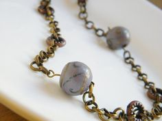 Gray and Golden Wooden Beads Necklace Copper by LadyRebelDesigns, $25.00