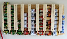 diy food storage holder that hangs on the wall...neat idea!!