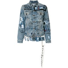 Faith Connexion grafitti denim jacket (20.659.270 IDR) ❤ liked on Polyvore featuring outerwear, jackets, blue, blue jean jacket, faith connexion jacket, blue denim jacket, jean jacket and blue jackets