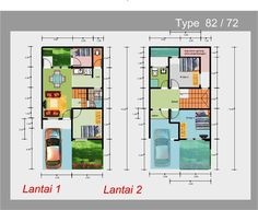 Desain Rumah 6 Kamar Tidur 2 Lantai Narrow House Plans, Small House Floor Plans, Building A Small House, 2 Storey House, Minimalist House Design, Build Your Dream Home, Home Design Plans, House Layouts, Shed Plans
