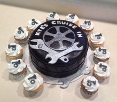 Tire cake with nuts and bolts cupcakes                                                                                                                                                                                 More