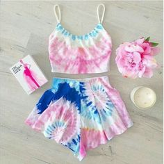 Sweet Pink and Blue Tie Dye Shorts Twinset! - Sweet Pink and Blue Tie Dye Shorts Twinset! Teen Fashion, Fashion Clothes, Fashion Outfits, Style Fashion, Fashion Women, Fashion Online, Festival Outfits, Festival Fashion, Rave Outfits