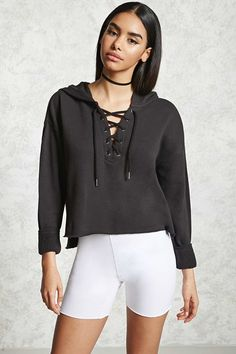 Lace-Up Cropped Hoodie