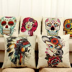 Decorative Pillow Case Cartoon Skull Pattern - USD $6.99 ! HOT Product! A hot product at an incredible low price is now on sale! Come check it out along with other items like this. Get great discounts, earn Rewards and much more each time you shop with us!