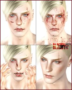 """"""" The bloody set contains: 2 tear makeup (blush, 2 channals) 3 blood scar makeup channal) 1 freckle (blush, 1 channal) 1 blood body channal) *both gender,teen to. Sims 4 Cc Eyes, Sims 4 Cc Skin, Sims Cc, Bruises Makeup, Scar Makeup, Fx Makeup, Eye Scar, Blood Makeup, Sims Packs"""