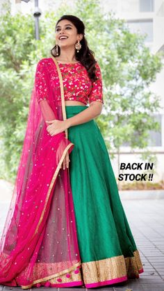 Indian Gowns Dresses, Indian Fashion Dresses, Indian Designer Outfits, Girls Fashion Clothes, Half Saree Lehenga, Lehenga Saree Design, Lehenga Designs, Half Saree Designs, Fancy Blouse Designs
