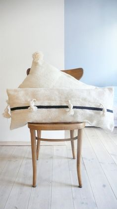 Image of Moroccan POM POM Wool Pillow Cover - Extra Long Black Stripe