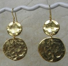 Hammered Gold Coin Earrings