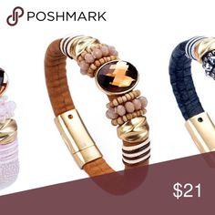 Magnetic bracelet Brown magnetic, genuine leather bracelet Jewelry Bracelets
