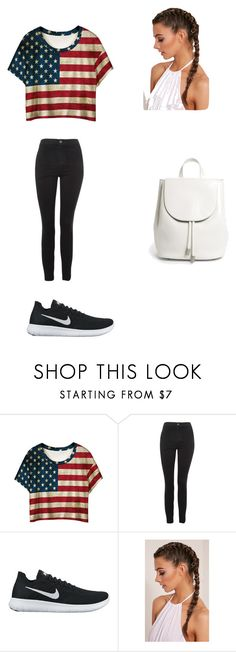 """USA"" by ottoca on Polyvore featuring WithChic, Topshop, NIKE and Everlane"
