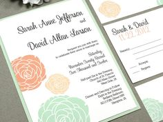 Classic Vintage Flowers Wedding Invitation Set by RunkPock Designs : Script Calligraphy Floral Suite shown in coral / mint green / peach on Etsy, $2.25