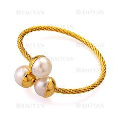 pulsera dorado con perla de moda en acero para mujer-SSBTG1144450