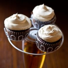 Chocolate cupcakes with a beer and brown sugar buttercream.