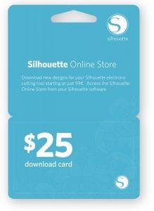 Verkoopt ook downloadkaarten en regelmatig aanbiedingen als deze: Silhouette Store $25 Digital Download Card + Bonus $6.99 SVGCuts Gift Card