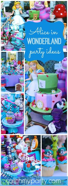 What an amazing Alice in Wonderland first birthday party! See more party ideas at CatchMyParty.com!