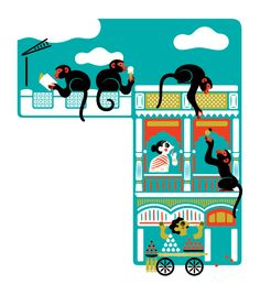 """Monocle Issue 65  Editorial illustrations for Affairs section """"Working Overtime"""" articles."""