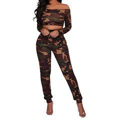 a3b4545c192 Yomobuti Women s Off Shoulder Camouflage Print Long Sleeve Camo Crop Top  and Pant 2PCS Outfits Set