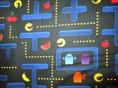 Retro Pac Man Video Nintendo Game Cotton Fabric Fat by scizzors