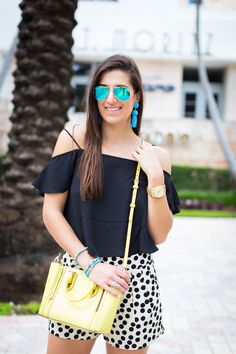 polka dot shorts, cold shoulder top, off the shoulder top, tropical style, vacation style, spring outfit, turquoise tassel earrings, nude wedge sandals, nude espadrille sandals // grace wainwright from a southern drawl