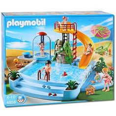 Grand camping car familial marque playmobil un camping for Playmobil 4858 piscine avec toboggan