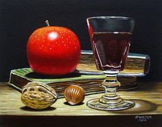 "Daily+Paintworks+-+""Red+apple+on+books""+-+Original+Fine+Art+for+Sale+-+©+Jean-Pierre+Walter"
