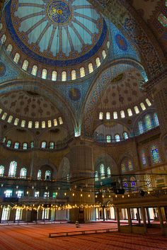 Blue Mosque Interior in Istanbul. Beautiful