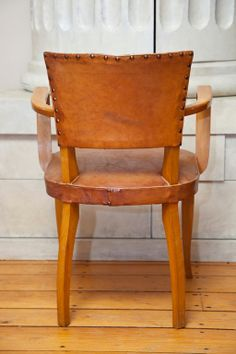 Classic Pair of French Leather Bridge Chairs