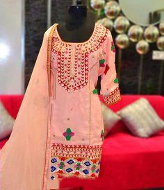 Machine Embroidered Pure Creap Suit with Pure Chinon Chiffon Dupatta
