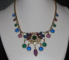 Vintage QUALITY Purple,Green, Blue & Clear Rhinestone Bezel Dangle Necklace