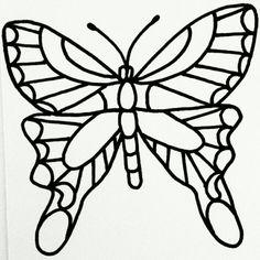 Butterfly greeting card, felt tip pen