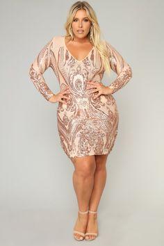 Miss Fortune Sequin Dress - Nude/Rose Gold – Fashion Nova Plus Size Sequin Dresses, Plus Size Cocktail Dresses, Plus Size Party Dresses, Plus Dresses, Plus Size Outfits, Rose Gold Party Dress, Rose Gold Sequin Dress, Plus Size Fashion For Women, Curvy Women Fashion