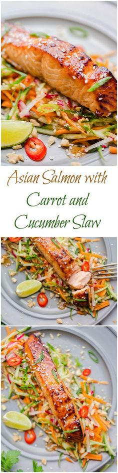 Asian-style salmon with carrot and cucumber slaw in peanut dressing.