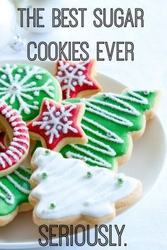 Look no farther for the BEST sugar cookie recipe this holiday season. A little shortbread, a WHOLE lot of flavor and perfect for making ahead. Decorate with a lot of icing and your favorite little helpers! These taste like shortbread cookies, we rated Christmas Sweets, Christmas Cooking, Holiday Baking, Christmas Desserts, Holiday Treats, Holiday Recipes, Holiday Gifts, Christmas Goodies, Christmas Cookies For Kids