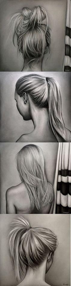 Desenhos realistas - mulheres, cabelos e penteados - grafite
