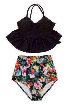 Black Long Peplum Top and Vintage Retro High Waist Waisted Swimsuit Swimsuits Swimwears Bikini Bikinis set 2PC Swim Bathing Swim suit S M by venderstore on Etsy