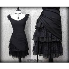 Gothic Romantic Lacey Black Bustle Effect Hitched Dress 14 Steampunk Victorian
