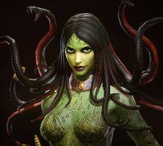Gods of Rome - Medusa by Bruno Jiménez Medusa Art, Medusa Gorgon, Fantasy Warrior, Fantasy Girl, Mythological Creatures, Mythical Creatures, Demon Art, Halloween Cartoons, Fantasy Inspiration