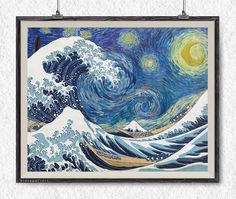 Famous artists, famous paintings, who is better? Both! The Great Wave by Hokusai and The Starry Night from Vincent Willem van Gogh together looks gorgeous!  •*¨*•.¸¸ ☽ • Info about prints • ☄ • •*¨*•.¸¸ ★ The frame is not included. You will receive just the print. *High-quality printing on a heavyweight paper - above 230 gsm *Lovely gift and wall decor for bedroom, living room etc *Beautiful art print suitable for framing. And look just lovely while hanging on the wall. *Please note: actual…