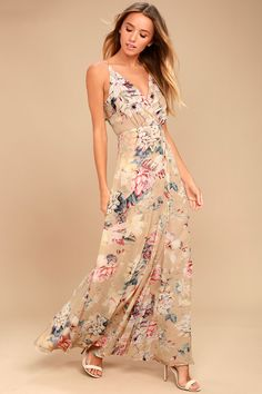 The perfect getaway is at your fingertips in the Something Just Like This Beige Floral Print Maxi Dress! Lightweight woven poly, in a beige, red, blue, and white floral print, falls from adjustable spaghetti straps, into a surplice bodice. Fitted waist, and wrapping maxi skirt. Ruffled, tying open back. Hidden back zipper.