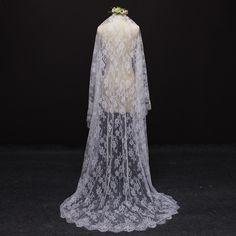 a80454504b Accesorios de boda · 2017 real imagen hermosa flor de encaje 2 metros velo  de novia con peine marfil blanco